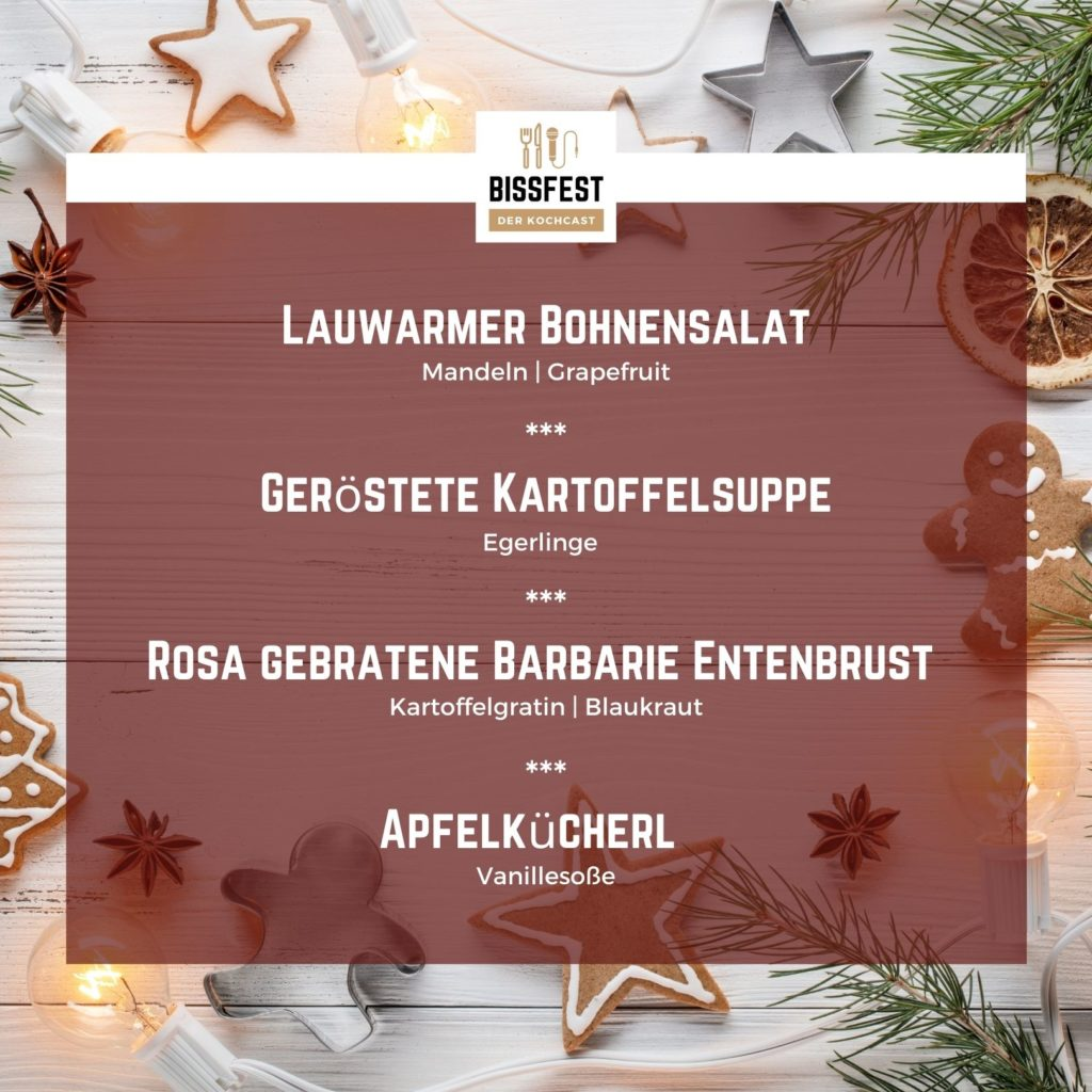 Weihnachtsmenü, Winter, Bissfest - Der Kochcast, Podcast, Kochen, Menü, Rezepte, Weihnachten