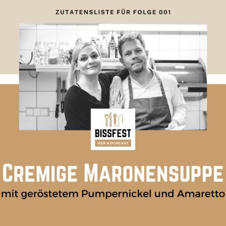Rezept: Cremige Maronensuppe mit geröstetem Pumpernickel und Amaretto
