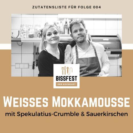 Rezept: Weißes Mokkamousse mit Spekulatius-Crumble und Sauerkirschen