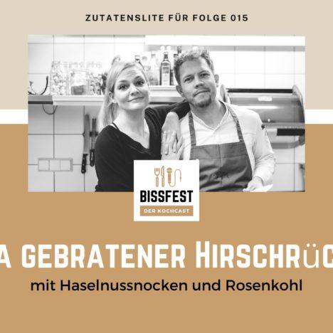 Rezept: Gebratener Hirschrücken mit Haselnussnocken und Rosenkohl
