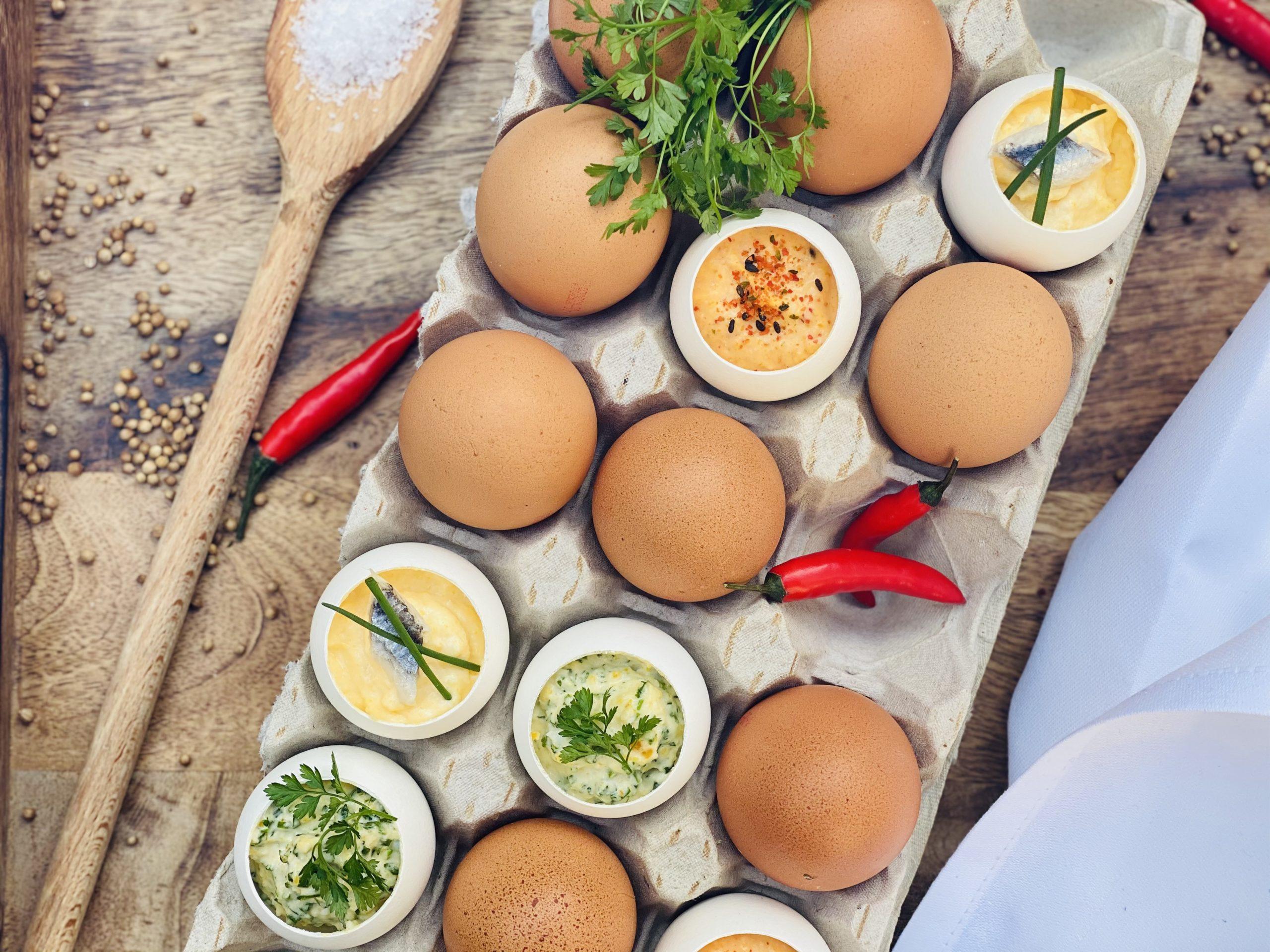 Dreierlei gefüllte Eier, Gefüllte Eier, Rezept, Vorspeise, Osteressen, Ostern, Ostermenü, Bissfest, Kochcast, BISSFEST - Der Kochcast